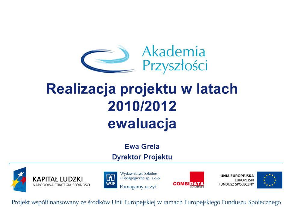 Realizacja projektu w latach 2010/2012 ewaluacja Ewa Grela Dyrektor Projektu