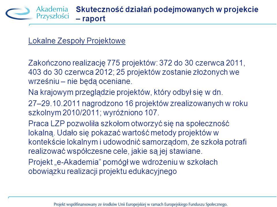 Skuteczność działań podejmowanych w projekcie – raport Lokalne Zespoły Projektowe Zakończono realizację 775 projektów: 372 do 30 czerwca 2011, 403 do