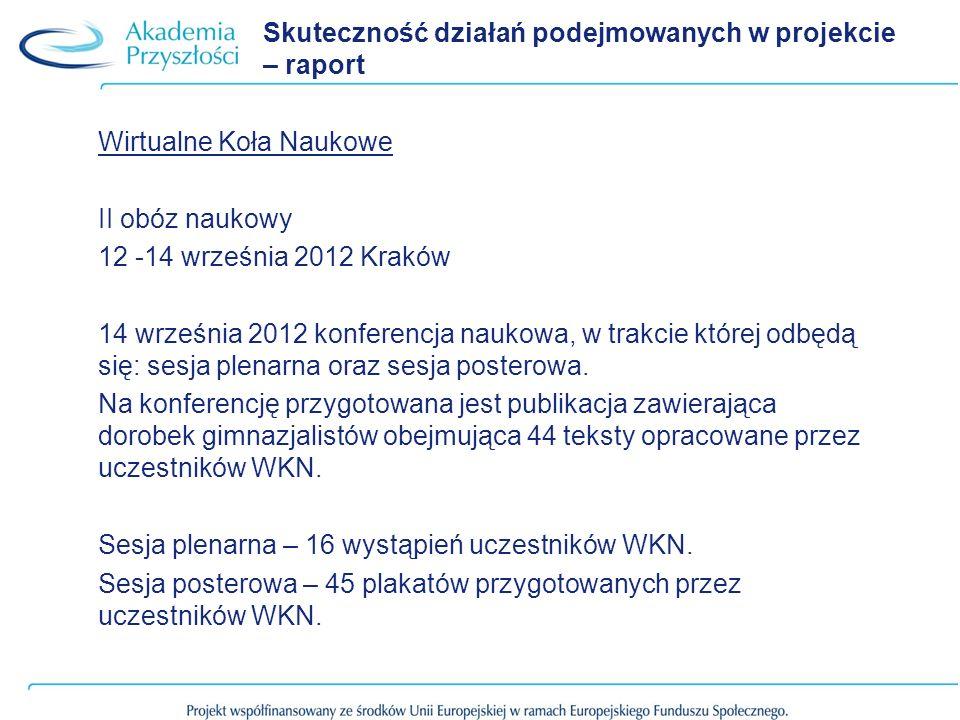 Skuteczność działań podejmowanych w projekcie – raport Wirtualne Koła Naukowe II obóz naukowy 12 -14 września 2012 Kraków 14 września 2012 konferencja