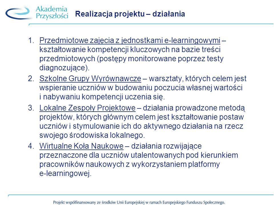 Realizacja projektu – działania 1.Przedmiotowe zajęcia z jednostkami e-learningowymi – kształtowanie kompetencji kluczowych na bazie treści przedmioto