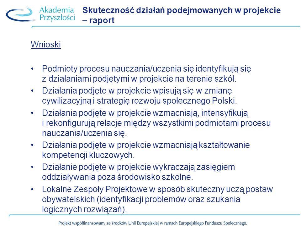 Skuteczność działań podejmowanych w projekcie – raport Wnioski Podmioty procesu nauczania/uczenia się identyfikują się z działaniami podjętymi w proje