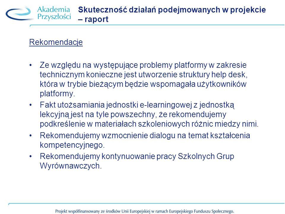 Skuteczność działań podejmowanych w projekcie – raport Rekomendacje Ze względu na występujące problemy platformy w zakresie technicznym konieczne jest