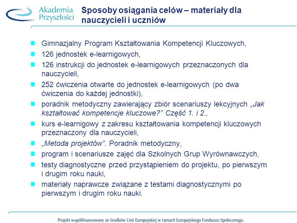 Skuteczność działań podejmowanych w projekcie – raport Testy diagnozujace Odbyły się trzy edycje badań diagnozujących uczniów: październik 2010, maj 2011, maj 2012.
