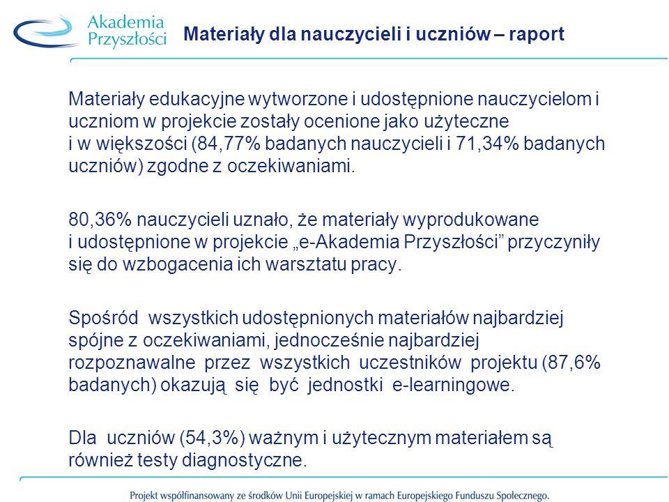 Materiały dla nauczycieli i uczniów – raport Materiały edukacyjne wytworzone i udostępnione nauczycielom i uczniom w projekcie zostały ocenione jako u