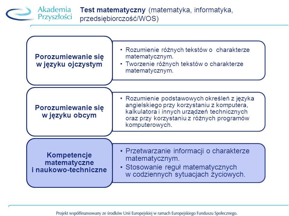 Test matematyczny (matematyka, informatyka, przedsiębiorczość/WOS) Rozumienie różnych tekstów o charakterze matematycznym. Tworzenie różnych tekstów o