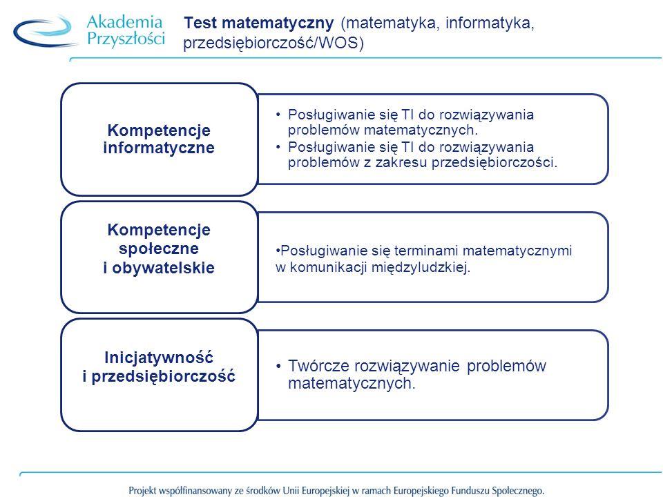 Test matematyczny (matematyka, informatyka, przedsiębiorczość/WOS) Posługiwanie się TI do rozwiązywania problemów matematycznych. Posługiwanie się TI