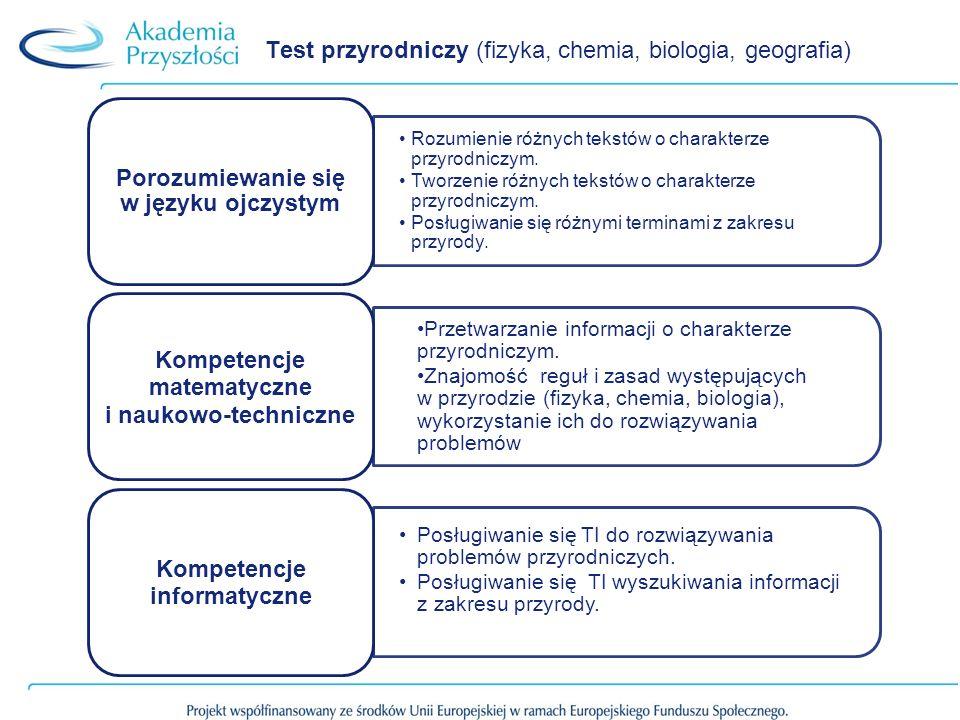 Test przyrodniczy (fizyka, chemia, biologia, geografia) Rozumienie różnych tekstów o charakterze przyrodniczym. Tworzenie różnych tekstów o charakterz