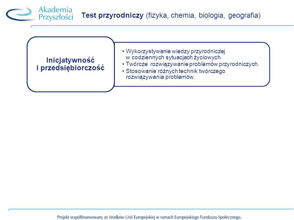Test przyrodniczy (fizyka, chemia, biologia, geografia) Wykorzystywanie wiedzy przyrodniczej w codziennych sytuacjach życiowych. Twórcze rozwiązywanie