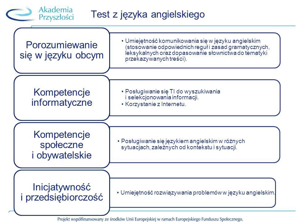 Umiejętność rozwiązywania problemów w języku angielskim. Test z języka angielskiego Umiejętność komunikowania się w języku angielskim (stosowanie odpo