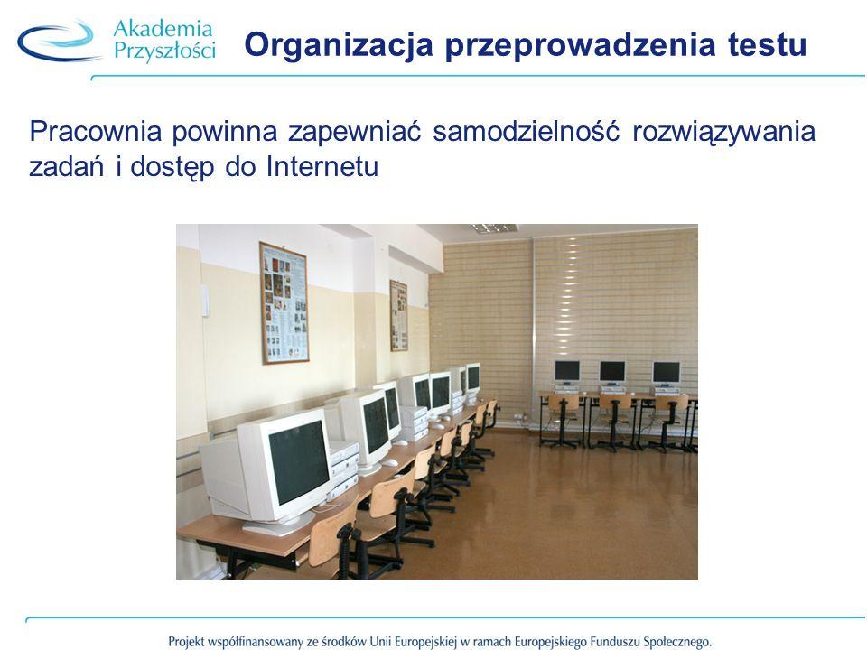 Organizacja przeprowadzenia testu Pracownia powinna zapewniać samodzielność rozwiązywania zadań i dostęp do Internetu