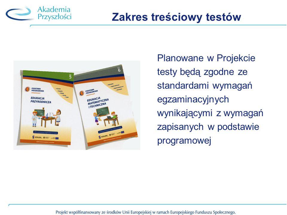Zakres treściowy testów Planowane w Projekcie testy będą zgodne ze standardami wymagań egzaminacyjnych wynikającymi z wymagań zapisanych w podstawie p