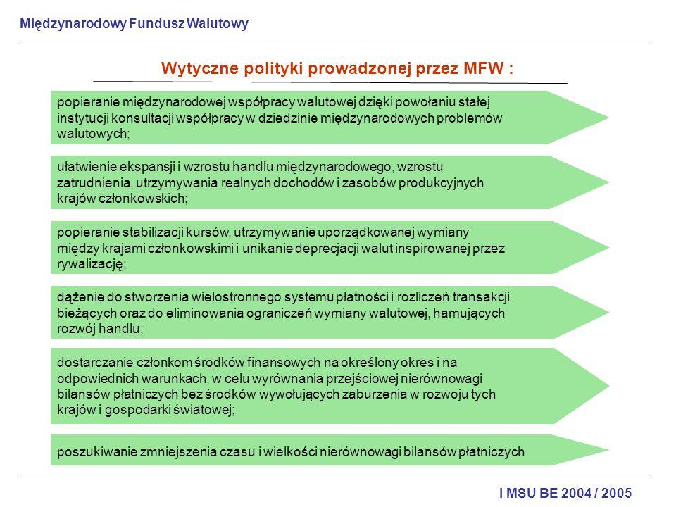 Międzynarodowy Fundusz Walutowy I MSU BE 2004 / 2005 Wytyczne polityki prowadzonej przez MFW : popieranie międzynarodowej współpracy walutowej dzięki