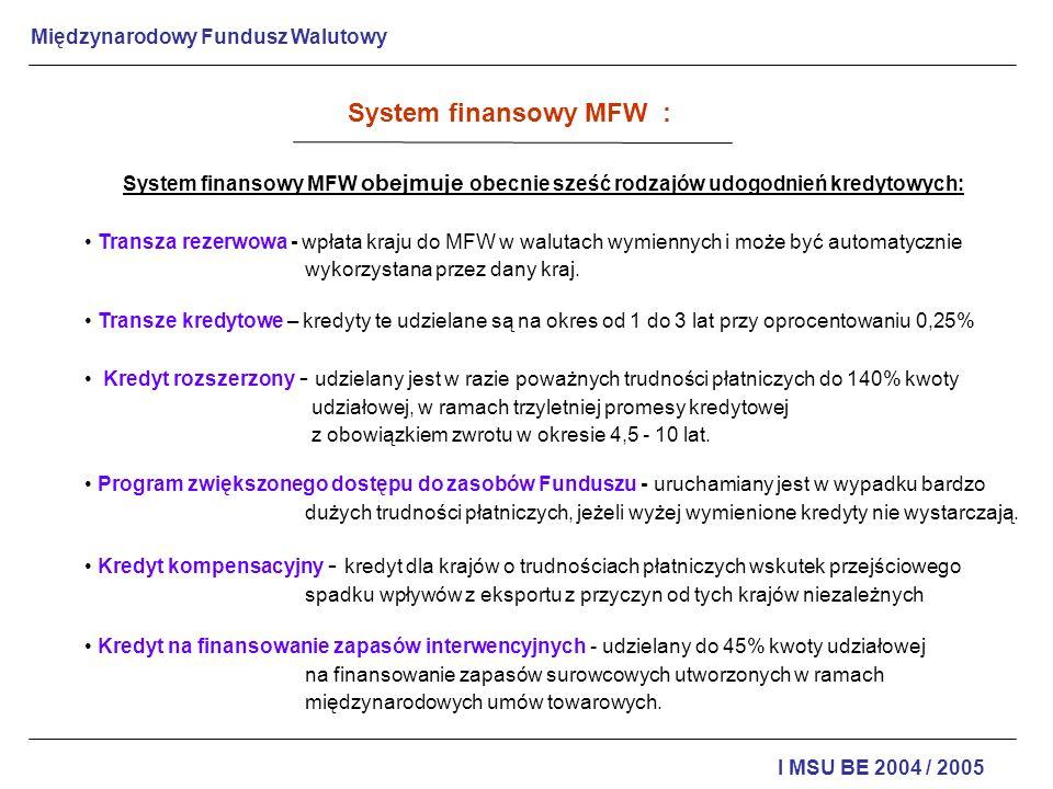 Międzynarodowy Fundusz Walutowy I MSU BE 2004 / 2005 Warunki przyznania kredytu są sprecyzowane w promesie kredytowej składającej się z dwóch części: listu intencyjnego Ministra Finansów kraju starającego się o kredyt, zawierającego cele i sposoby realizacji programu stabilizacji zmierzającego do równowagi bilansu płatniczego; deklaracji Funduszu o przekazaniu do dyspozycji danego kraju swoich środków finansowych na realizację tego programu.