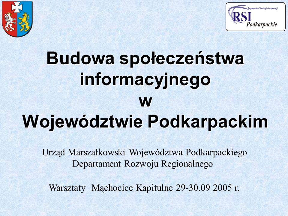 Budowa społeczeństwa informacyjnego w Województwie Podkarpackim Urząd Marszałkowski Województwa Podkarpackiego Departament Rozwoju Regionalnego Warszt