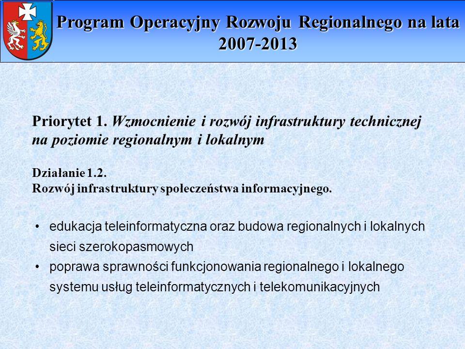Priorytet 1. Wzmocnienie i rozwój infrastruktury technicznej na poziomie regionalnym i lokalnym edukacja teleinformatyczna oraz budowa regionalnych i