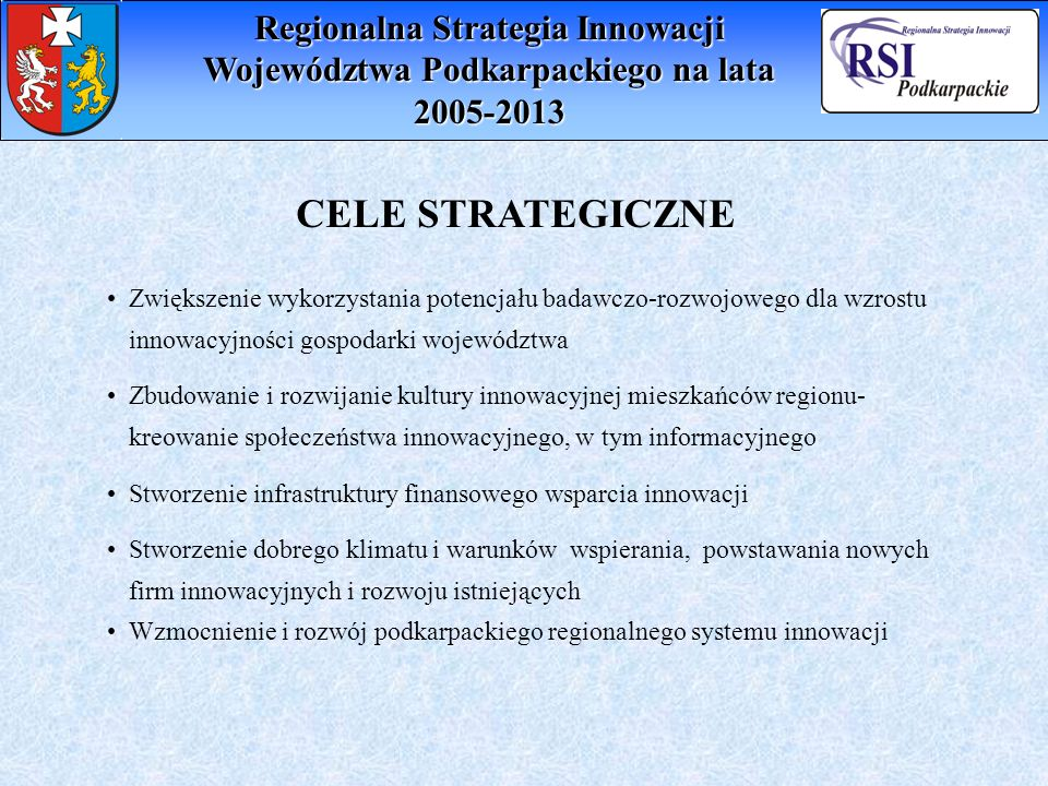 CELE STRATEGICZNE Zwiększenie wykorzystania potencjału badawczo-rozwojowego dla wzrostu innowacyjności gospodarki województwa Zbudowanie i rozwijanie