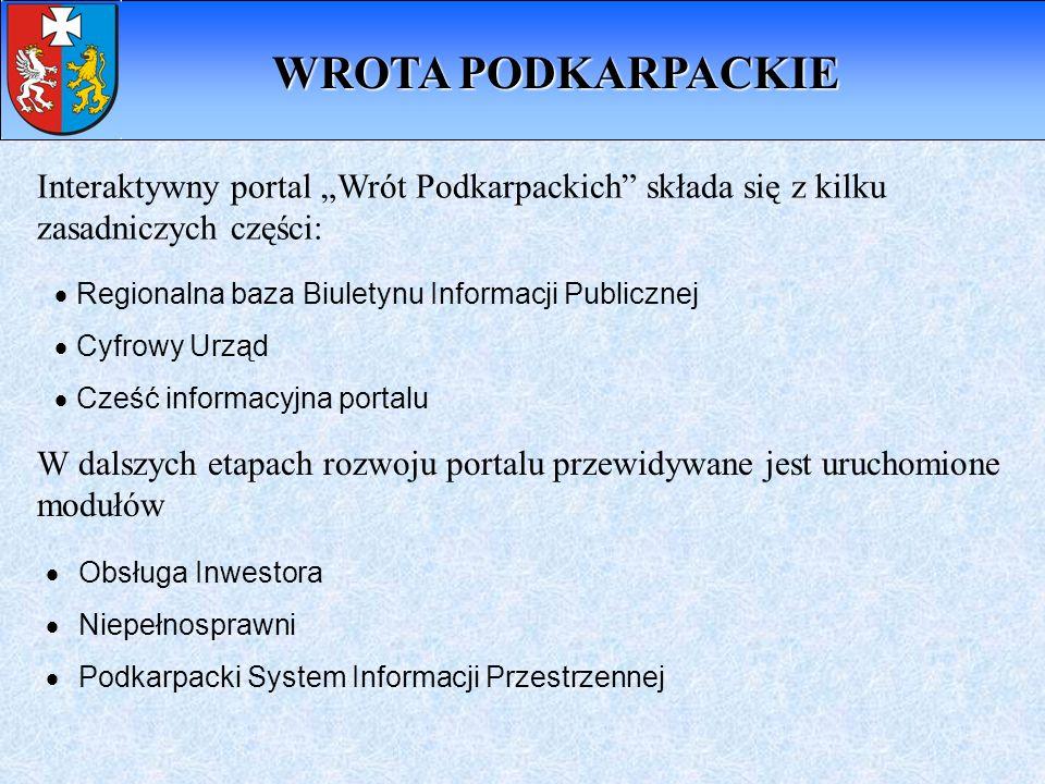 Interaktywny portal Wrót Podkarpackich składa się z kilku zasadniczych części: Regionalna baza Biuletynu Informacji Publicznej Cyfrowy Urząd Cześć inf