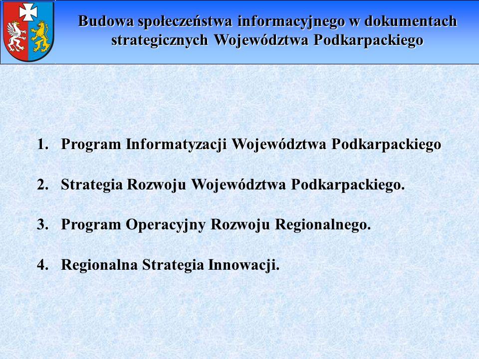 Priorytet I: Rozwój usług publicznych na platformie elektronicznej dla obywateli i firm Cel 1: Świadczenie usług publicznych on-line przez administrację samorządową pełna inwentaryzacja podstawowej infrastruktury informatycznej (sprzętowej i programowej) integracja portalu Wrota Podkarpackie z systemami jednostek samorządu terytorialnego oraz jednostkami zależnymi i podległymi wdrożenie w administracji infrastruktury podpisu elektronicznego mobilizacja przedstawicieli administracji terenowej do modernizacji infrastruktury informatycznej w kierunku bardziej dostępnej dla interesantów (indywidualnych i instytucjonalnych) Cel 2: Tworzenie Publicznych Punktów Dostępu do Internetu (PIAP) zrównoważona przestrzennie rozbudowa podstawowej infrastruktury powszechnego dostępu do Internetu i usług świadczonych on-line w regionie.