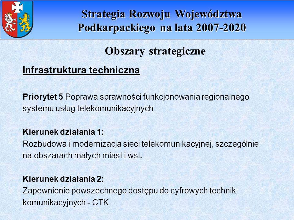 Infrastruktura techniczna Priorytet 5 Poprawa sprawności funkcjonowania regionalnego systemu usług telekomunikacyjnych. Kierunek działania 1: Rozbudow