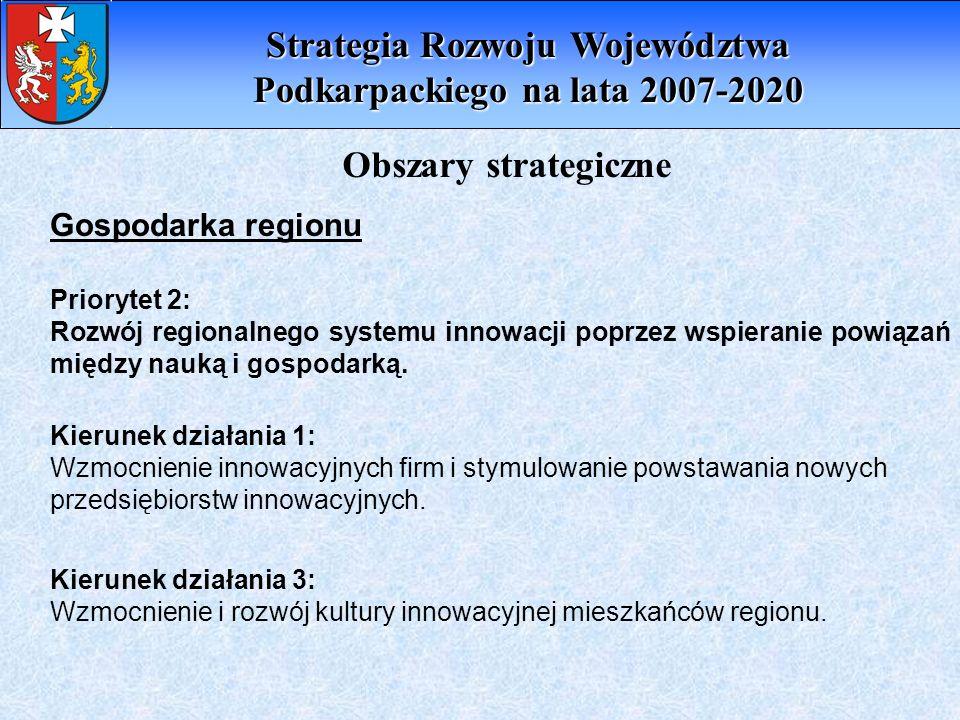 Obszary strategiczne Gospodarka regionu Priorytet 2: Rozwój regionalnego systemu innowacji poprzez wspieranie powiązań między nauką i gospodarką. Kier