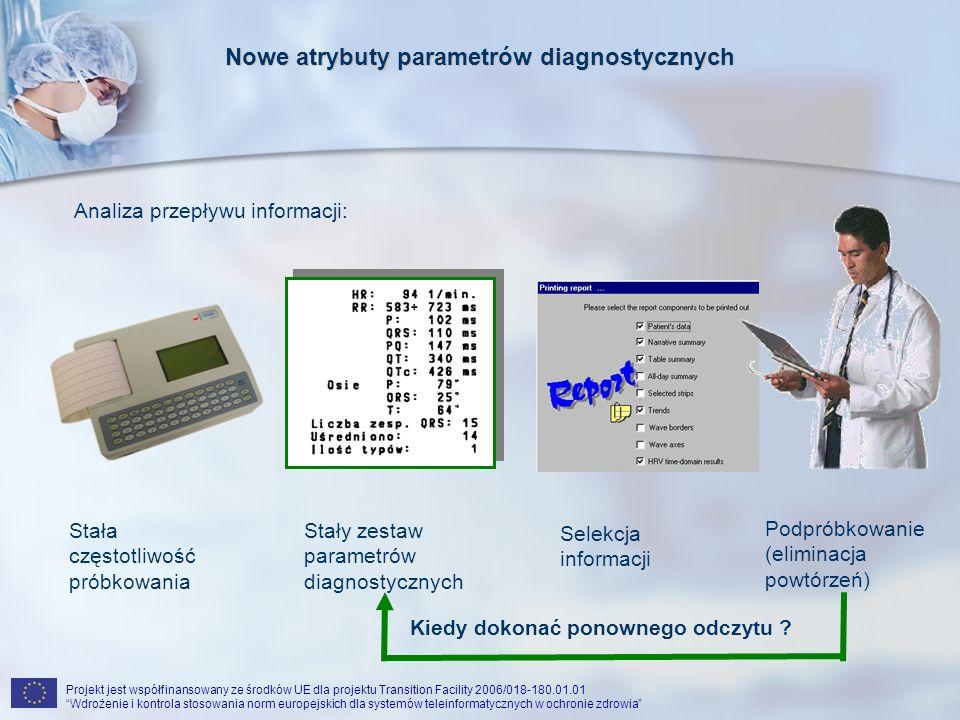 Projekt jest współfinansowany ze środków UE dla projektu Transition Facility 2006/018-180.01.01 Wdrożenie i kontrola stosowania norm europejskich dla systemów teleinformatycznych w ochronie zdrowia Nowe atrybuty parametrów diagnostycznych Analiza przepływu informacji: Stały zestaw parametrów diagnostycznych Stała częstotliwość próbkowania Selekcja informacji Podpróbkowanie (eliminacja powtórzeń) Kiedy dokonać ponownego odczytu ?