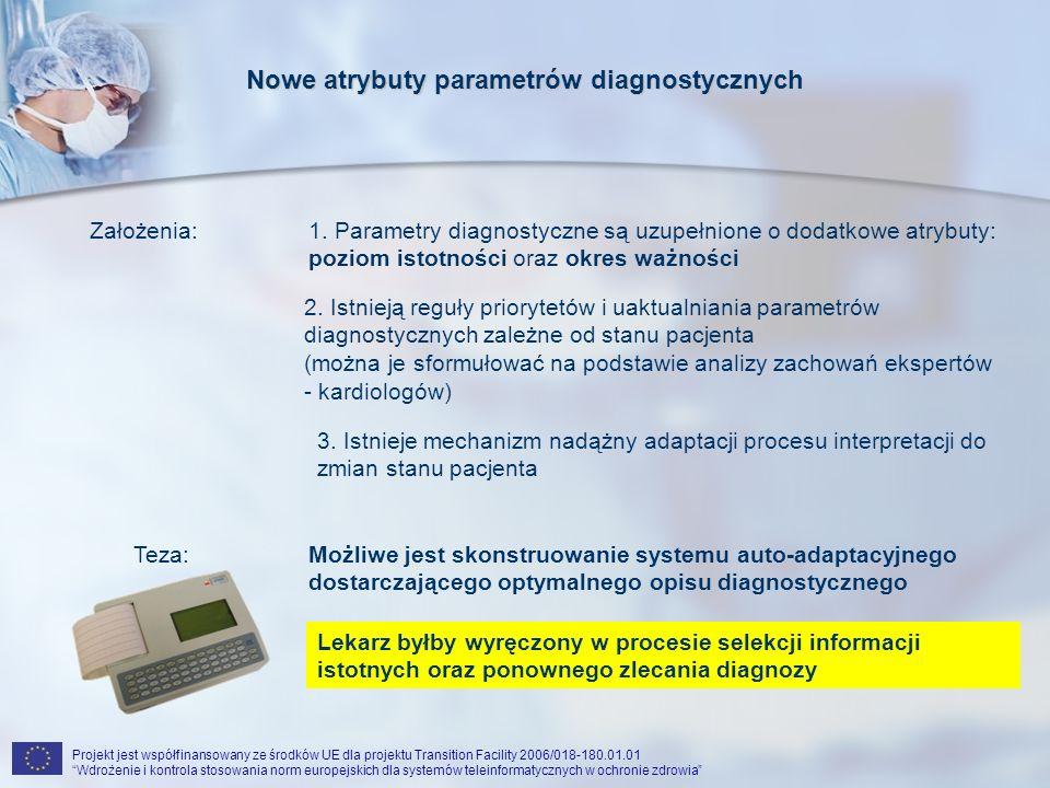 Projekt jest współfinansowany ze środków UE dla projektu Transition Facility 2006/018-180.01.01 Wdrożenie i kontrola stosowania norm europejskich dla systemów teleinformatycznych w ochronie zdrowia Nowe atrybuty parametrów diagnostycznych Założenia:1.