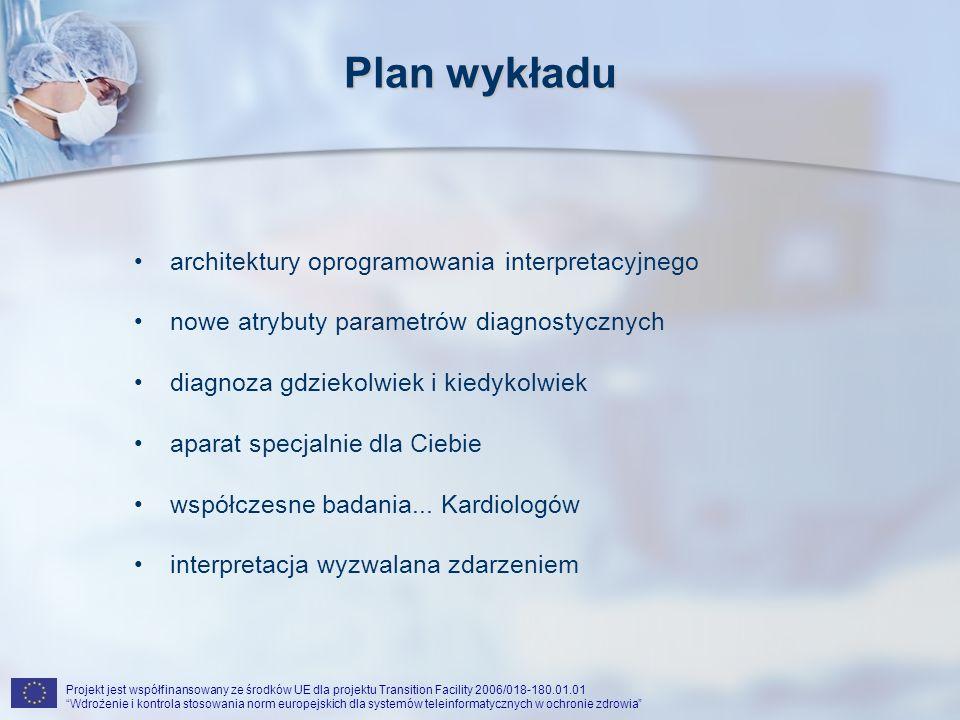 Projekt jest współfinansowany ze środków UE dla projektu Transition Facility 2006/018-180.01.01 Wdrożenie i kontrola stosowania norm europejskich dla systemów teleinformatycznych w ochronie zdrowia Współczesne badania...kardiologów