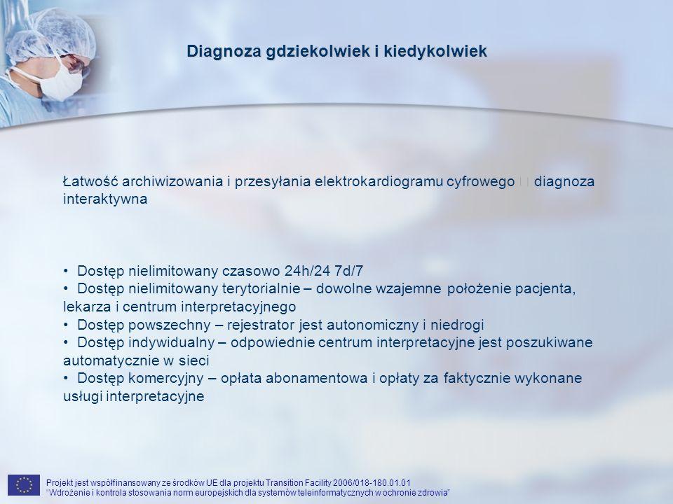 Projekt jest współfinansowany ze środków UE dla projektu Transition Facility 2006/018-180.01.01 Wdrożenie i kontrola stosowania norm europejskich dla systemów teleinformatycznych w ochronie zdrowia Diagnoza gdziekolwiek i kiedykolwiek Łatwość archiwizowania i przesyłania elektrokardiogramu cyfrowego diagnoza interaktywna Dostęp nielimitowany czasowo 24h/24 7d/7 Dostęp nielimitowany terytorialnie – dowolne wzajemne położenie pacjenta, lekarza i centrum interpretacyjnego Dostęp powszechny – rejestrator jest autonomiczny i niedrogi Dostęp indywidualny – odpowiednie centrum interpretacyjne jest poszukiwane automatycznie w sieci Dostęp komercyjny – opłata abonamentowa i opłaty za faktycznie wykonane usługi interpretacyjne