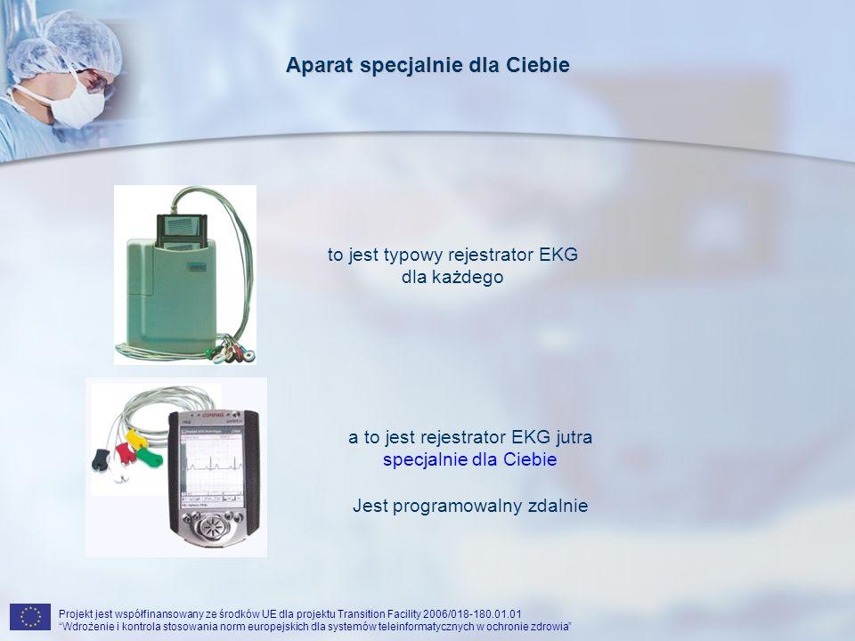 Projekt jest współfinansowany ze środków UE dla projektu Transition Facility 2006/018-180.01.01 Wdrożenie i kontrola stosowania norm europejskich dla systemów teleinformatycznych w ochronie zdrowia Aparat specjalnie dla Ciebie to jest typowy rejestrator EKG dla każdego a to jest rejestrator EKG jutra specjalnie dla Ciebie Jest programowalny zdalnie