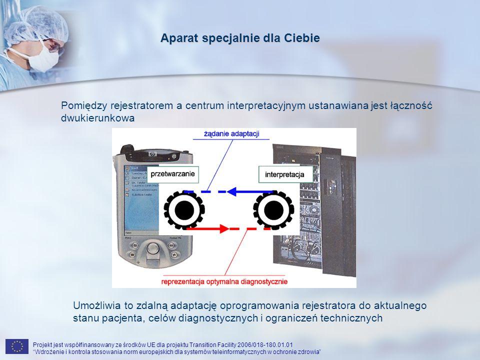 Projekt jest współfinansowany ze środków UE dla projektu Transition Facility 2006/018-180.01.01 Wdrożenie i kontrola stosowania norm europejskich dla systemów teleinformatycznych w ochronie zdrowia Aparat specjalnie dla Ciebie Pomiędzy rejestratorem a centrum interpretacyjnym ustanawiana jest łączność dwukierunkowa Umożliwia to zdalną adaptację oprogramowania rejestratora do aktualnego stanu pacjenta, celów diagnostycznych i ograniczeń technicznych