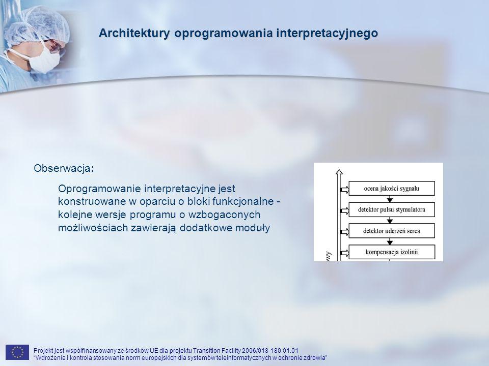 Projekt jest współfinansowany ze środków UE dla projektu Transition Facility 2006/018-180.01.01 Wdrożenie i kontrola stosowania norm europejskich dla systemów teleinformatycznych w ochronie zdrowia Architektury oprogramowania interpretacyjnego Obserwacja: Uzasadnienie: Oprogramowanie interpretacyjne jest konstruowane w oparciu o bloki funkcjonalne - kolejne wersje programu o wzbogaconych możliwościach zawierają dodatkowe moduły Producent może bardzo łatwo komponować aplikacje dla rozmaitych zastosowań z poszczególnych bloków
