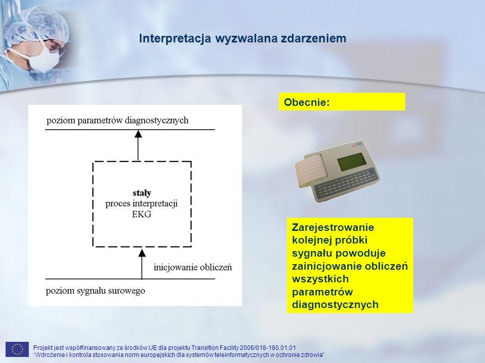 Projekt jest współfinansowany ze środków UE dla projektu Transition Facility 2006/018-180.01.01 Wdrożenie i kontrola stosowania norm europejskich dla systemów teleinformatycznych w ochronie zdrowia Interpretacja wyzwalana zdarzeniem Zarejestrowanie kolejnej próbki sygnału powoduje zainicjowanie obliczeń wszystkich parametrów diagnostycznych Obecnie: