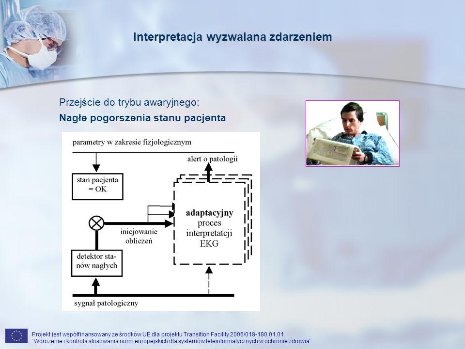 Projekt jest współfinansowany ze środków UE dla projektu Transition Facility 2006/018-180.01.01 Wdrożenie i kontrola stosowania norm europejskich dla systemów teleinformatycznych w ochronie zdrowia Interpretacja wyzwalana zdarzeniem Przejście do trybu awaryjnego: Nagłe pogorszenia stanu pacjenta