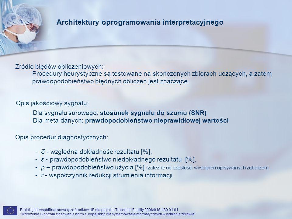 Projekt jest współfinansowany ze środków UE dla projektu Transition Facility 2006/018-180.01.01 Wdrożenie i kontrola stosowania norm europejskich dla systemów teleinformatycznych w ochronie zdrowia Rezultaty testów procedur istniejących: Architektury oprogramowania interpretacyjnego