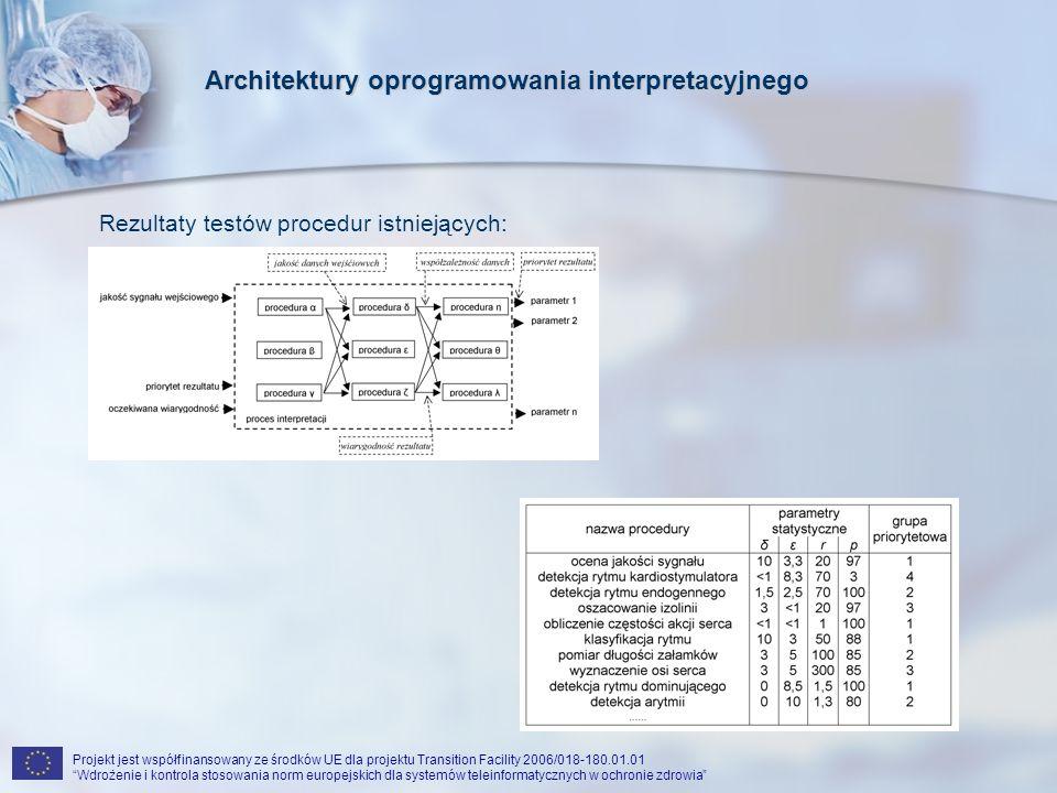 Projekt jest współfinansowany ze środków UE dla projektu Transition Facility 2006/018-180.01.01 Wdrożenie i kontrola stosowania norm europejskich dla systemów teleinformatycznych w ochronie zdrowia Optymalizacja architektury: Kryteria: Maksymalna wiarygodność końcowego rezultatu Minimalne przepływy informacji pomiędzy procedurami Środki: Przesunięcie na początek łańcucha procedur o wysokiej jakości Przesunięcie na początek łańcucha procedur o znacznej redukcji strumienia informacji Ograniczenie punktów dostępu do sygnału surowego Koncepcja magistral danych: Magistrale danych łączą procedury o podobnym stopniu przetworzenia danych w poprzek poziomów priorytetów Architektury oprogramowania interpretacyjnego