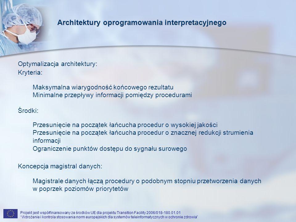 Projekt jest współfinansowany ze środków UE dla projektu Transition Facility 2006/018-180.01.01 Wdrożenie i kontrola stosowania norm europejskich dla systemów teleinformatycznych w ochronie zdrowia wzrost priorytetu wzrost stopnia przetworzenia danych Koncepcja magistral danych Architektury oprogramowania interpretacyjnego