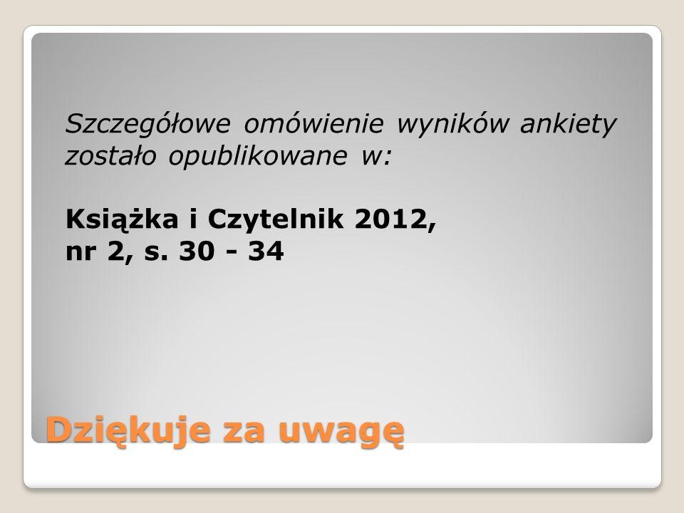 Dziękuje za uwagę Szczegółowe omówienie wyników ankiety zostało opublikowane w: Książka i Czytelnik 2012, nr 2, s. 30 - 34