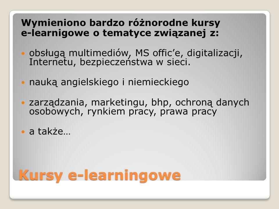 Kursy e-learningowe Wymieniono bardzo różnorodne kursy e-learnigowe o tematyce związanej z: obsługą multimediów, MS office, digitalizacji, Internetu,