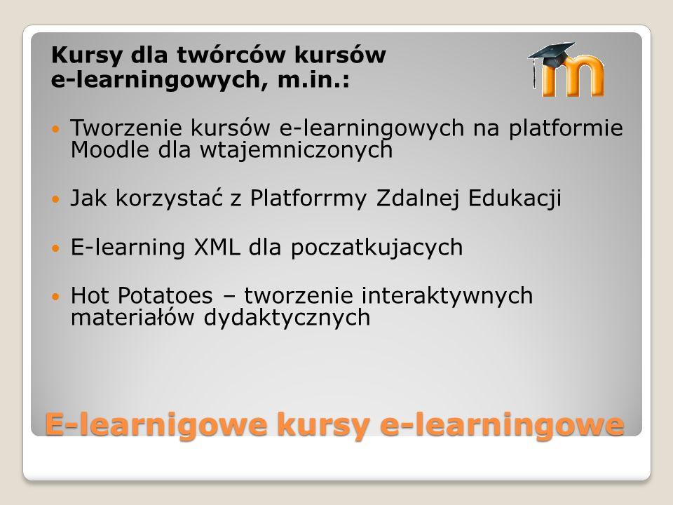 E-learnigowe kursy e-learningowe Kursy dla twórców kursów e-learningowych, m.in.: Tworzenie kursów e-learningowych na platformie Moodle dla wtajemnicz
