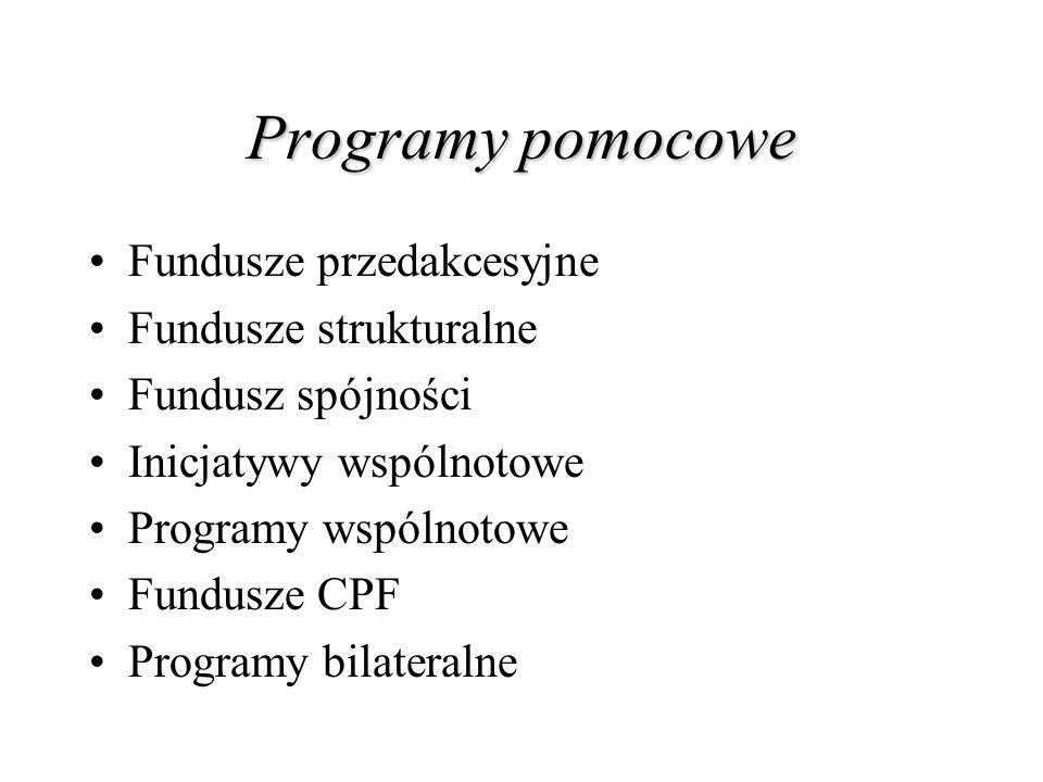 Programy pomocowe Fundusze przedakcesyjne Fundusze strukturalne Fundusz spójności Inicjatywy wspólnotowe Programy wspólnotowe Fundusze CPF Programy bi