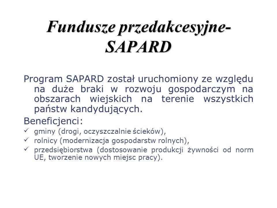 Fundusze przedakcesyjne- SAPARD Program SAPARD został uruchomiony ze względu na duże braki w rozwoju gospodarczym na obszarach wiejskich na terenie ws