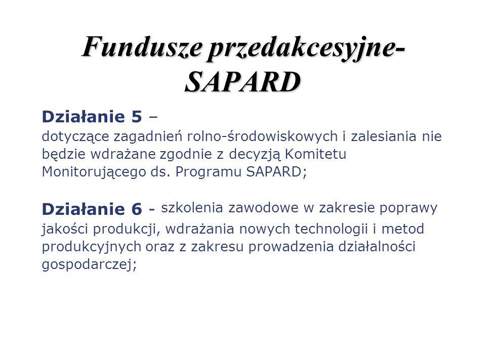 Fundusze przedakcesyjne- SAPARD Działanie 5 – dotyczące zagadnień rolno-środowiskowych i zalesiania nie będzie wdrażane zgodnie z decyzją Komitetu Mon