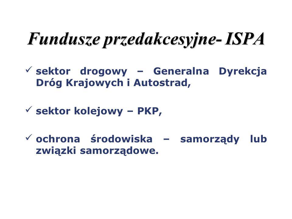 Fundusze przedakcesyjne- ISPA sektor drogowy – Generalna Dyrekcja Dróg Krajowych i Autostrad, sektor kolejowy – PKP, ochrona środowiska – samorządy lu