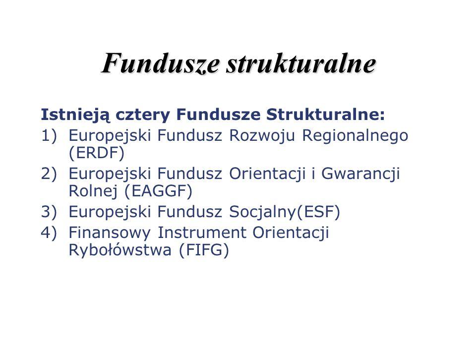 Fundusze strukturalne Istnieją cztery Fundusze Strukturalne: 1)Europejski Fundusz Rozwoju Regionalnego (ERDF) 2)Europejski Fundusz Orientacji i Gwaran