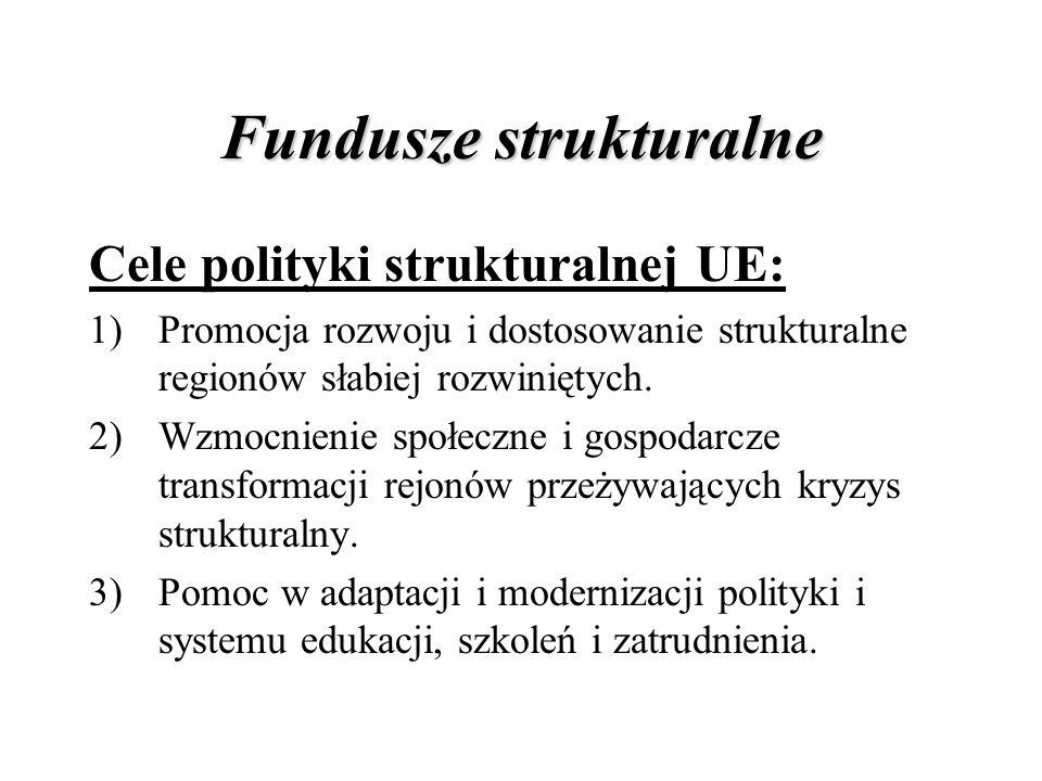 Fundusze strukturalne Cele polityki strukturalnej UE: 1)Promocja rozwoju i dostosowanie strukturalne regionów słabiej rozwiniętych. 2)Wzmocnienie społ