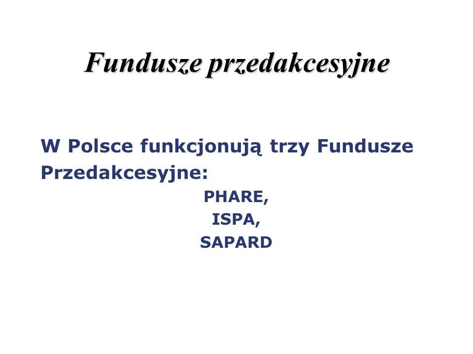 Fundusze przedakcesyjne W Polsce funkcjonują trzy Fundusze Przedakcesyjne: PHARE, ISPA, SAPARD