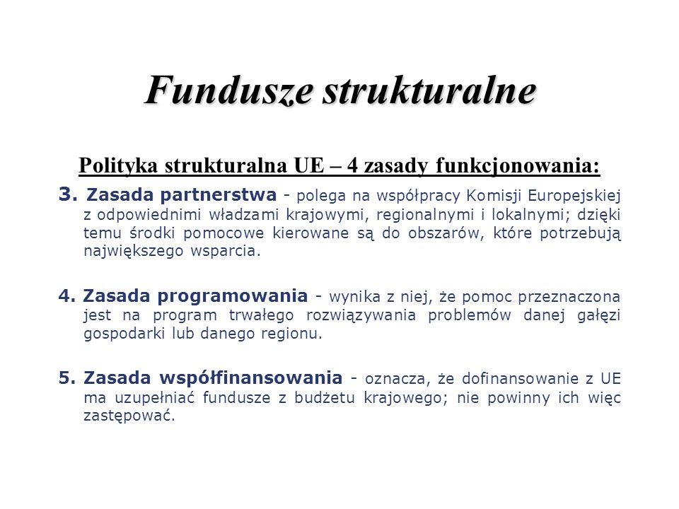 Fundusze strukturalne Polityka strukturalna UE – 4 zasady funkcjonowania: 3. Zasada partnerstwa - polega na współpracy Komisji Europejskiej z odpowied