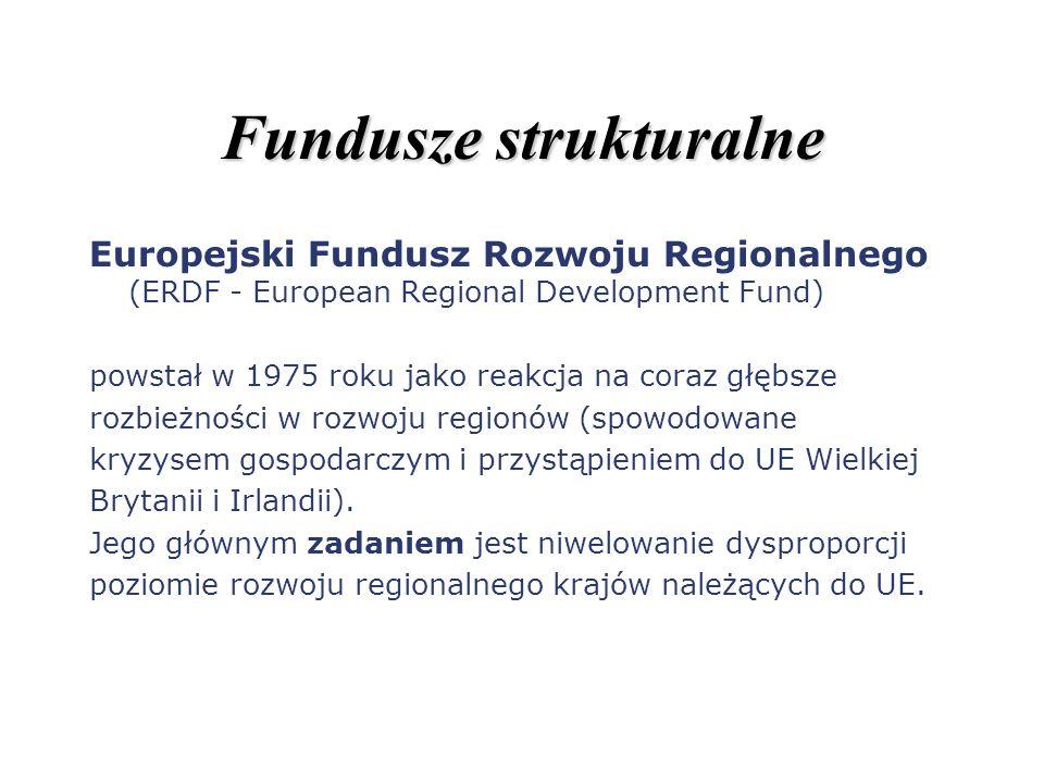 Fundusze strukturalne Europejski Fundusz Rozwoju Regionalnego (ERDF - European Regional Development Fund) powstał w 1975 roku jako reakcja na coraz gł