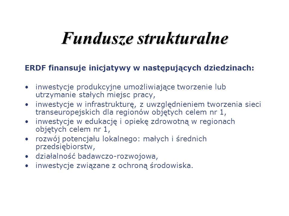 Fundusze strukturalne ERDF finansuje inicjatywy w następujących dziedzinach: inwestycje produkcyjne umożliwiające tworzenie lub utrzymanie stałych mie