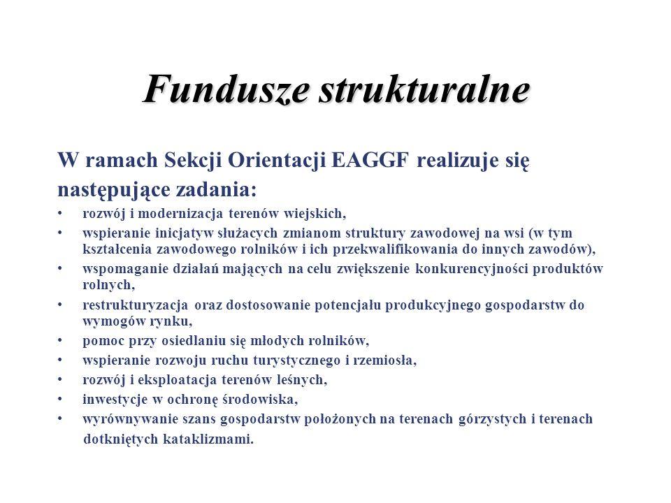 Fundusze strukturalne W ramach Sekcji Orientacji EAGGF realizuje się następujące zadania: rozwój i modernizacja terenów wiejskich, wspieranie inicjaty